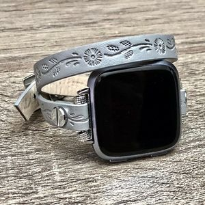 Grey Vegan Leather Band for Fitbit Versa Watch